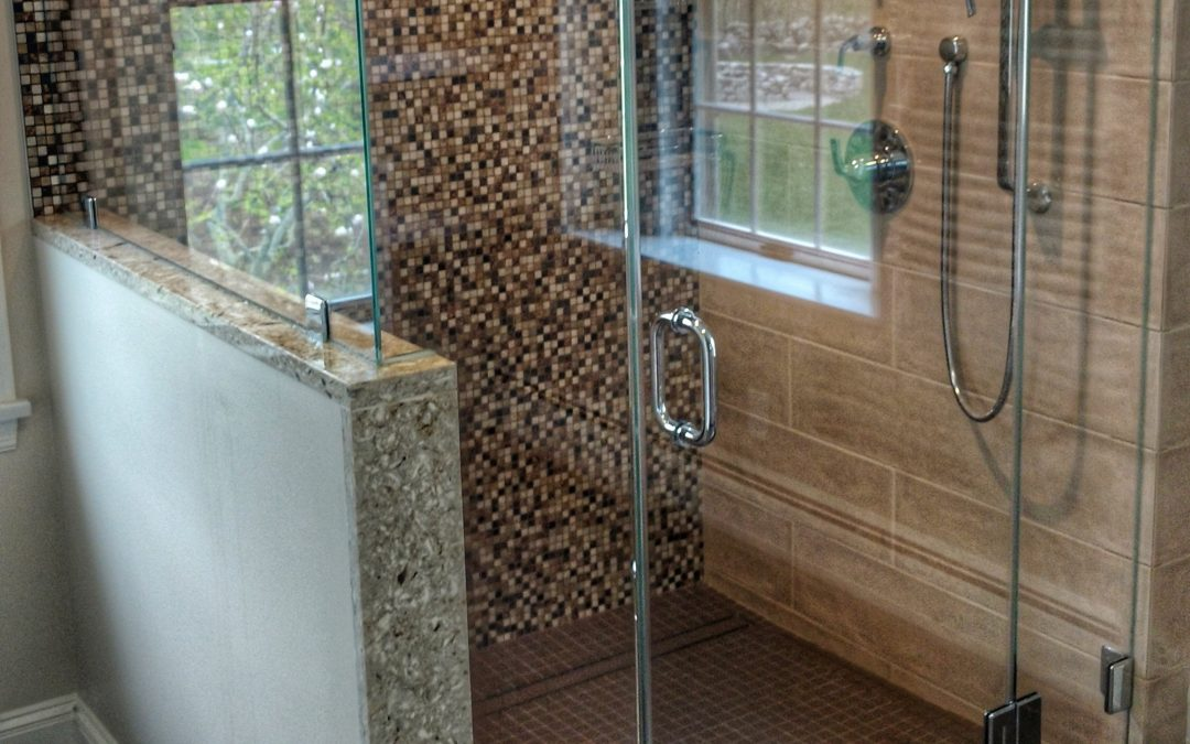 4-piece frameless shower enclosure with chrome hardware