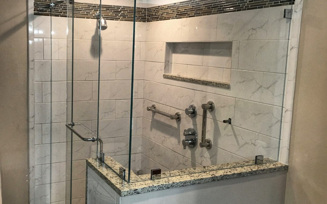 Frameless Barn Style Sliding Shower Door Installed In North