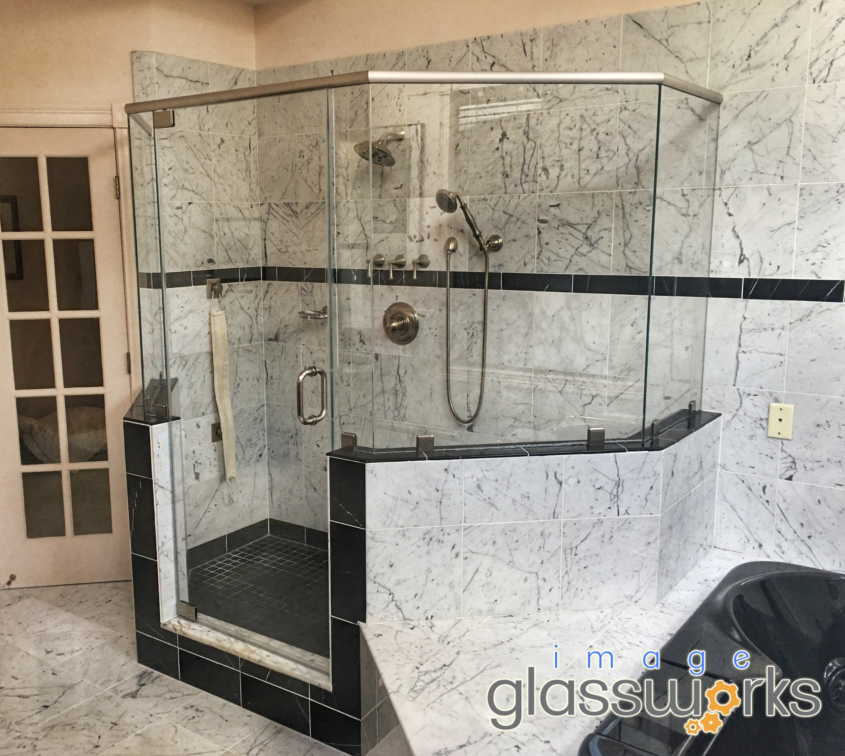6 Piece Frameless Shower Door With A Header Pivots And Low