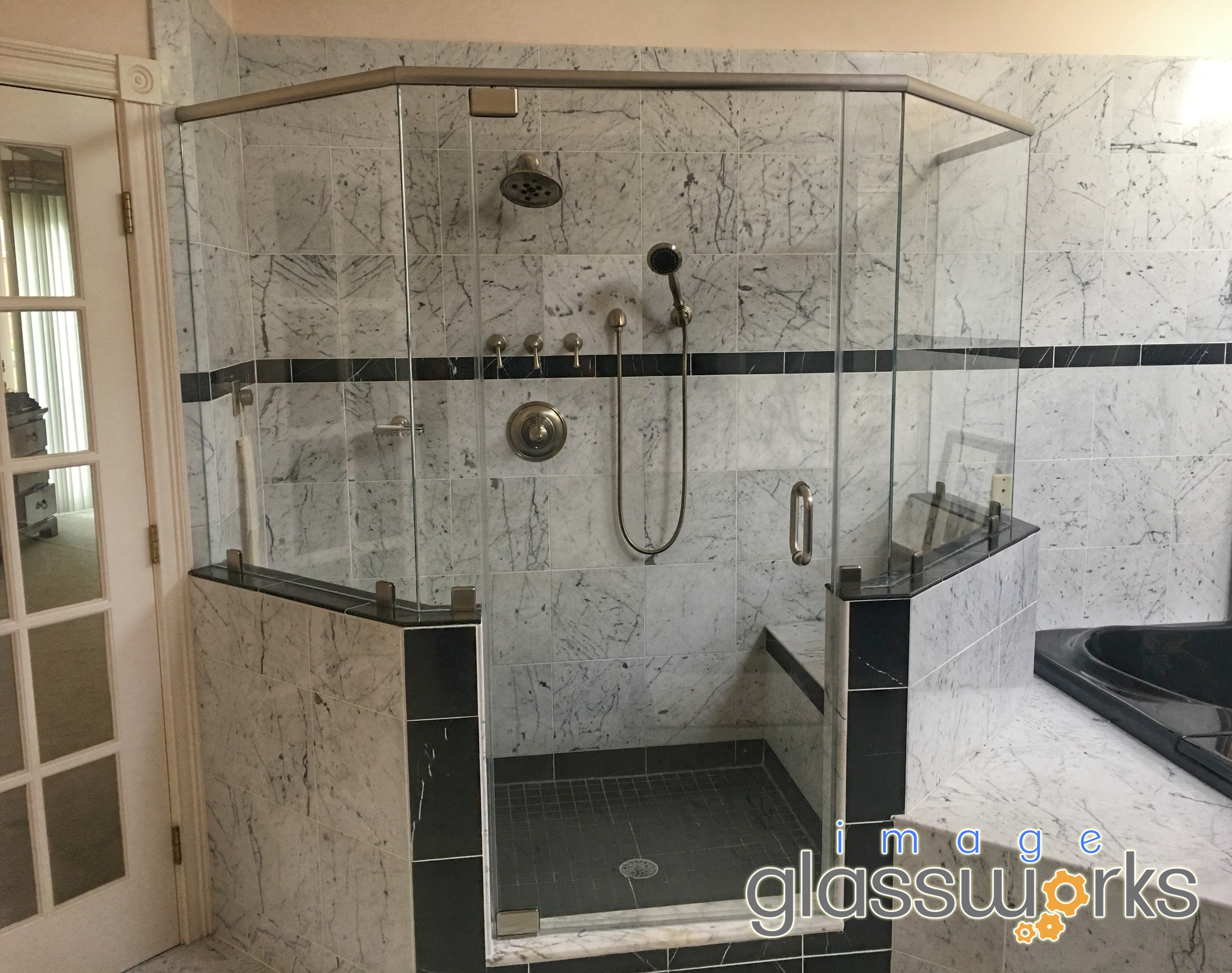 6 Piece Frameless Shower Door With A Header Pivots And