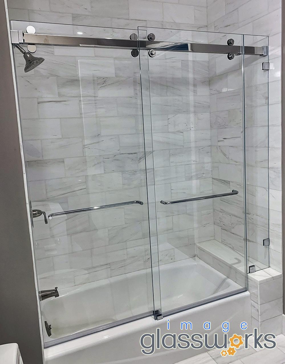 Barn Door Slider Frameless Bypass Shower Slider Exposed Rollers