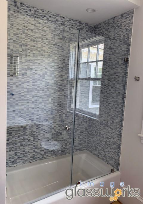 boxford frameless door and panel shower