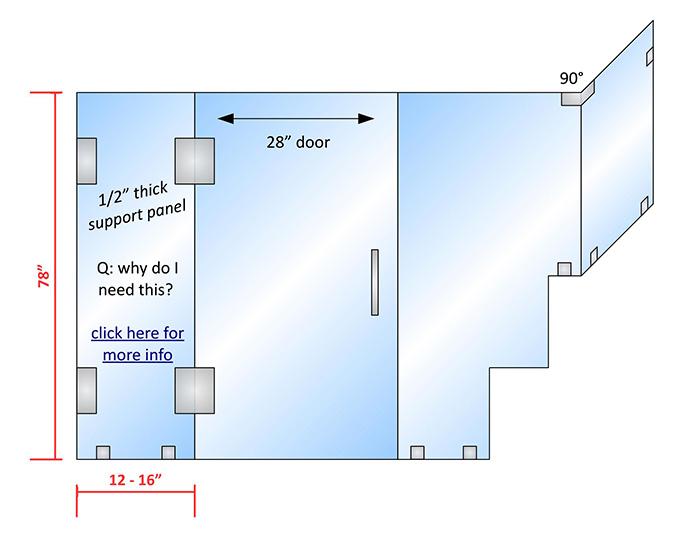 shower door configuration rendering
